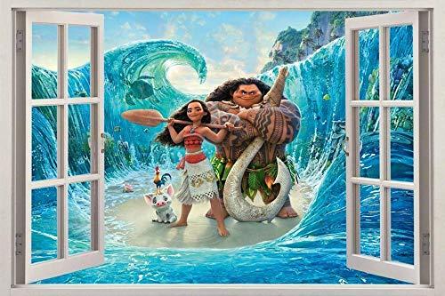 Adesivi da parete Moana 3D Window Decal Wall Sticker Home Decor Art Mural Disney Princess Decorazioni a parete cameretta