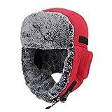 YUY Gorro Esquí Además Terciopelo Grueso Resistente Viento Múltiples Métodos Uso Cómodo Transpirable Suave Ajustable Windshield Hat con Bolsa Auriculares,Red