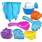YSSWJ Ysswjzz Set de Juguetes de Playa con Cubo de plástico para Playa, hervidor de Agua, Pala, Molde, 8 en 1, Forma de Castillo de plástico para bebés, Juguetes para niños