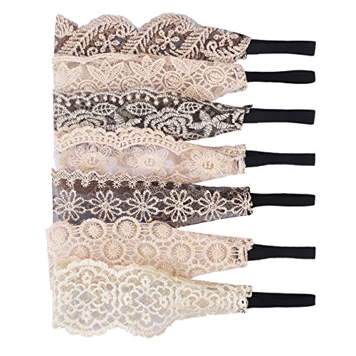 Candygirl 7 Pieces Lace Headbands for Women Girls Hair Bands Cloth Headbands Cute Fashion Elastic Headbands for Women(LACE)