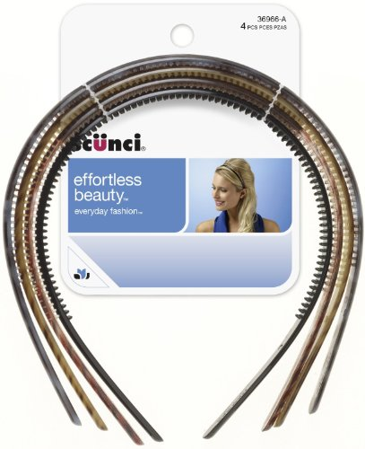 Scunci Effortless Beauty Skinny Plastic Headbands, 3 Packs Of 4 Count = 12 Count