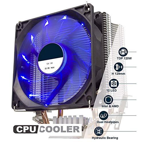 CPU Cooler, 2 heatpipe 90mm Ventilador del procesador CPU Cooler para LGA 1155/775/1366 / AM2 / AM3 / AM4