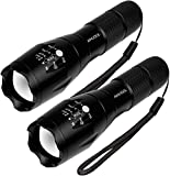 2 Pack Tactical Military LED Flashlight super bright high LM XML T6 LED Flashlights Portable Outdoor Water Resistant Torch Zoomable Flashlight 5-Mode (Pack of 2 T6 Chip)