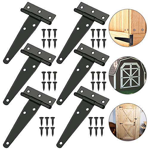 TANCUDER 6 PCS Shed Door Hinge Heavy Duty Strap Tee Hinge 100mm/4Inch Rustproof T Hinges Gate Door Barn Wrought with 36 PCS Screws for Gates Shed Doors Windows Fence Garden Storage Rooms, Black