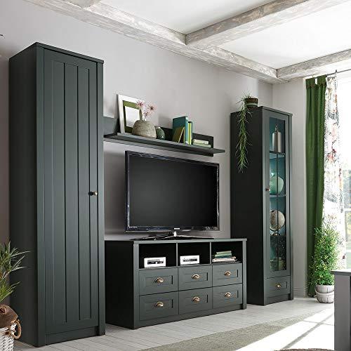 Lomadox Moderne und geradlinige Wohnwand im Landhaus-Stil - edles grün - Breite: 270 cm