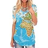 KYKU World Map Shirt for Women 3D Print Earth Globe t Shirt Graphic V Neck Blue (S, Map V Neck Tshirt)