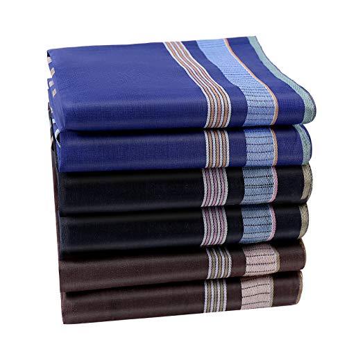 HOULIFE Pañuelos para hombre de algodón puro 60S, 43 x 43 cm, 3 colores, para uso diario, 6/12 unidades multicolor Medium