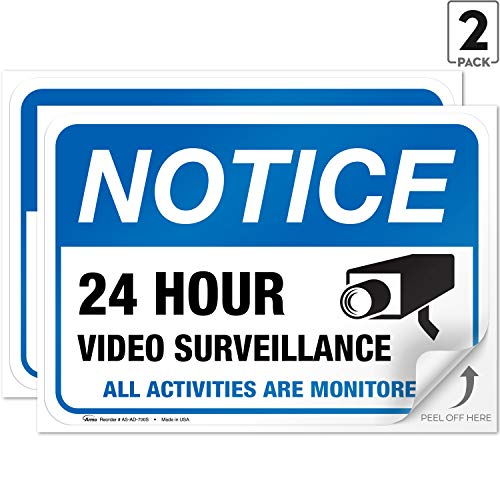 "(2 Pack) Video Surveillance Vinyl Sign - 7x10"" Sticker Self-Adhesive Decal Poster - Weatherproof, by ARMO"