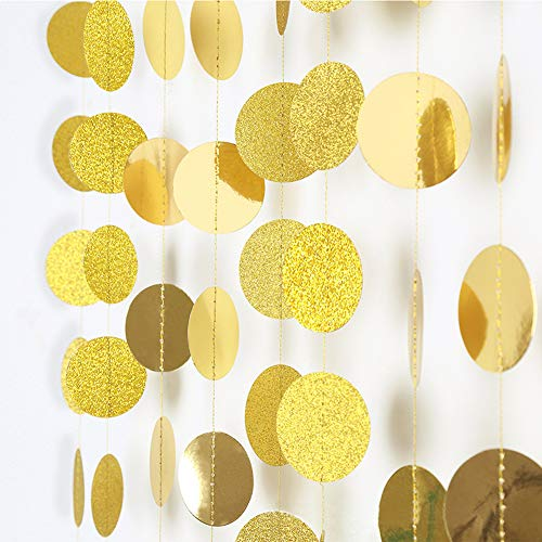Peicees 4 Pack 52ft Gold Circle Dots Glitter Paper Garland Hanging Decoration for Wedding Birthday Party Decorations