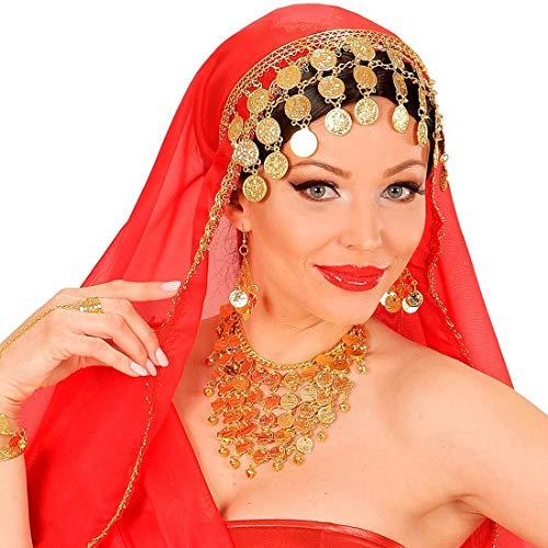 NET TOYS Orientalische Handkette mit Ring 1001 Nacht - Gold - Aufregendes Damen-Kostüm-Zubehör Handschmuck Bauchtänzerin & Antike - EIN Highlight für Fasching & Karneval