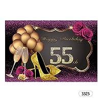 Flytise 7 * 5ftハッピーバースデー写真の背景大人の誕生日テーマの写真の背景布パーティーの装飾ライブストリーミングアクセサリー#3323