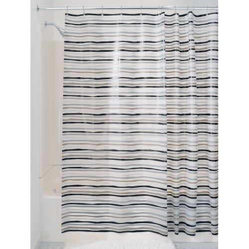 InterDesign - Stripz - Cortina para Ducha, 180 x 200 cm, Negro/Gris