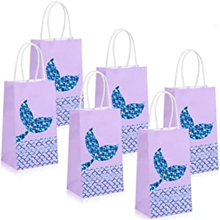 SKEIDO Set of 10 Mermaid Gift Bags Mermaid Party Supplies Favors Goodie Bag Glitter Treat Bags for Under the Sea Party Mer...