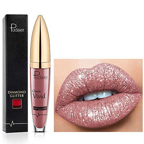 18 Farben Diamant glänzender langanhaltender Lippenstift,3D Shining Stars Perlglanz Lipgloss,Shimmer Metallic Texture Liquid,lang anhaltender Lipgloss,wasserdichte langlebiger Not Stick Cup (07)