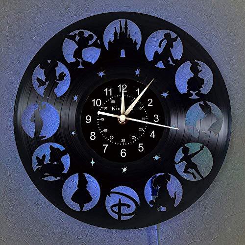 Smotly Vinyl-Wanduhr, Mickey Mouse Vintage Clock LED hängende Nachttischlampe 7 Farbe Wanduhr, Cartoon Uhr Disney-Geschenke Geburtstags-Geschenke handgemachte Hauptwanddekor,E,with Light
