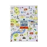 Talking Tables Mapa Multicolor de 250 Piezas de Londres y póster   Ilustrado   Reino Unido Inglaterra Monumentos Viajes   Día lluvioso, en casa, encierro, Regalo de cumpleaños