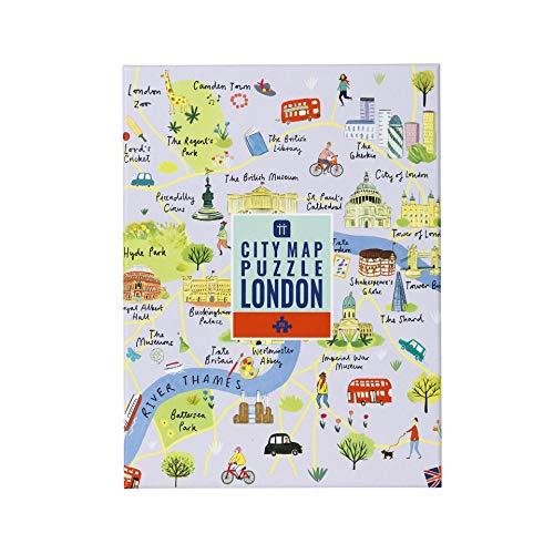 Mapa Multicolor de 250 Piezas de Londres y póster | Ilustrado | Reino Unido Inglaterra Monumentos Viajes | Día lluvioso, en casa, encierro, Regalo de cumpleaños