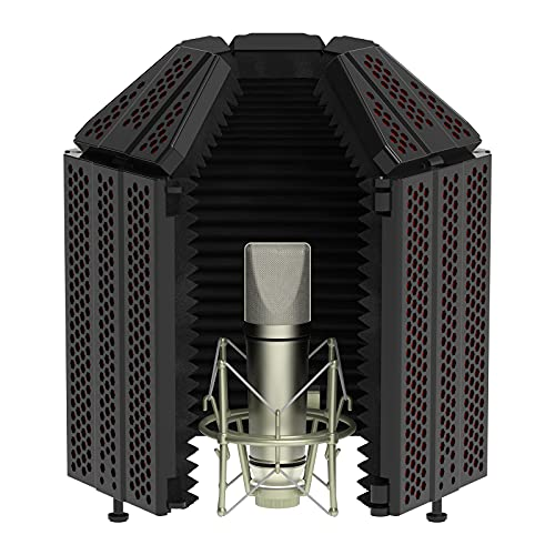 XTUGA Recording Microphone Isolation Shield with Pop Filter,High Density Absorbent Foam to Filter...