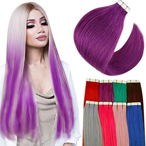 Hetto Tape Extension Cheveux Adhesive Violets Extension Adhesive Cheveux Humains Naturels à Bande Adhésive pour Femme 12 Pouces 10 Pièces 20g par Paquet