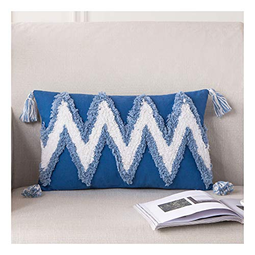 HPUK Boho Decorative Throw Pillow Cover Cotton Woven Tufted Pillow Cover Zig Zag Cushion Cover with Tassels for Couch Sofa Chair Living Room Bedroom, Blue, 12x20 inch
