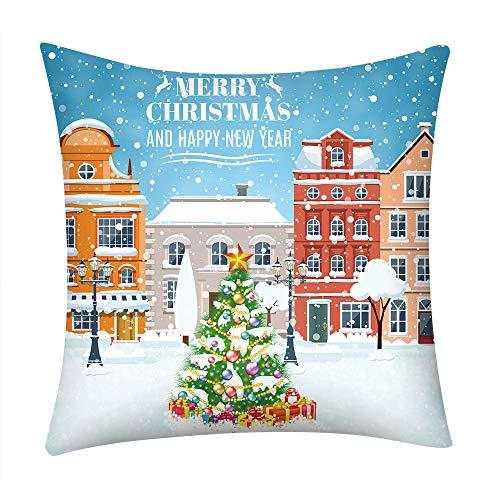 Reooly Christmas Pillow Case Funda de Almohada Bordada Hogar Decoración para el automóvil Accesorios para el hogar 45 cm x 45 cm
