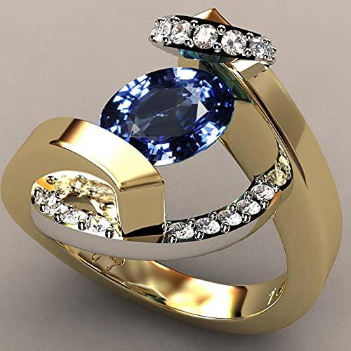 LINYIN 2 unids Zircon Micro Anillo Chapado en Oro incrustado Anillo 18k Oro incrustado Zafiro Anillo de Dos Tonos Anillo 9号 Two-Color Blue Diamond