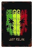 MIFSOIAVV Vendimia Cartel de Chapa metálica Colorful Jamaica on The of Reggae Music Slogan Just Relax Grunge Graphics Verde Placa Póster,Pared de Hierro Retro para Café Bar Pub Casa 20x30cm