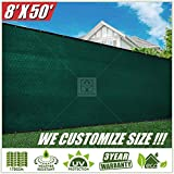 ColourTree 8' x 50' Green Fence Privacy Screen Windscreen Cover Fabric Shade Tarp Netting Mesh Cloth - Commercial Grade 170 GSM - Heavy Duty - 3 Years Warranty (We Make Custom Size)