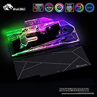 GPU Copper Water Cooling Block Compatible with NVIDIA GeForce RTX 2080Ti/2080 Founders/Reference Edition 5V 3PIN RGB Remote Control Back Plate (RTX2070 Layout)