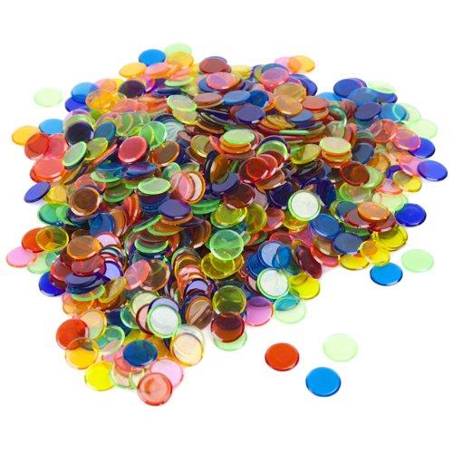 Royal Bingo Supplies 1000 Stück Bingo-Chips (gemischt) – Großpackung mit 3,6 cm durchscheinenden Markern für Bingo, Zähl- und Spielmarken, ideal für Bingo-Hallen und große Spiele