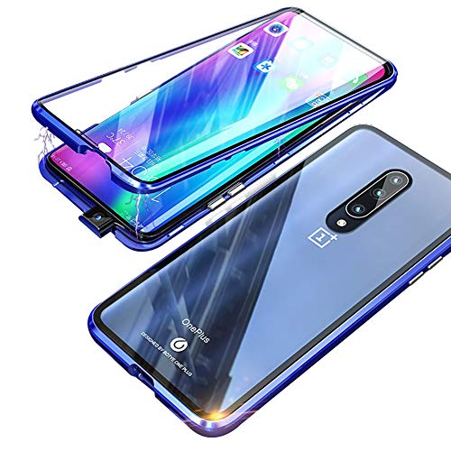 Compatible OnePlus 7 pro Case, HONTECH Slim Magnetic Adsorption Front & Back Clear Tempered Glass Magnet Metal Frame Flip Cover with Built-in Screen Protector for OnePlus 7pro (Blue)