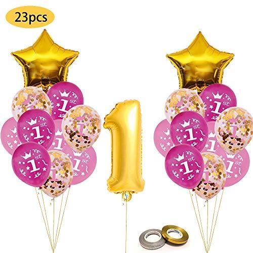 Een eerste verjaardag decoratie kit, gouden Confetti Ballon met [1st] patroon, roze en blauwe verjaardag ballonnen Set Perfect voor 1e Bday Party Supplies meisje of jongen met folie Een nummer 1 roze