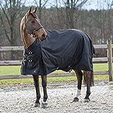 HORZE Nevada Regendecke Weidedecke für Pferde mit wasserdichtem und winddichtem 1200D Ripstop Gewebe für nasses Wetter, Schwarz, 145