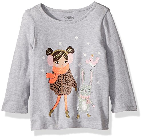 Gymboree Girls' Toddler Long Sleeve Graphic Tee, mud Heather, 12-18 mo