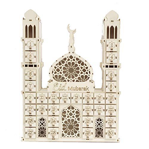 yasu7 Eid Mubarak - Calendario de cuenta atrs para decoracin de Ramadn de madera
