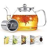 Teekanne Glas, 1200ML Teekanne mit Siebeinsatz, Borosilikatglas Teeservice, Glasteekanne, Teekanne Glas mit Siebeinsatz, Teekanne mit Sieb, Tee-Ei für lose Blätter Teekanne - Spülmaschinenfest …