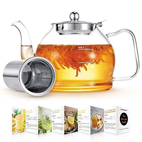 Glass Teapot, 1200ml Glass Teapot with Removable Infuser, Clear TeaPot for Blooming Tea, Loose Tea, Flowering Tea Pot Gift, Scale line Borosilicate Glass Teapot Stovetop Safe Cover Tea Brewer Guide
