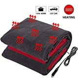Big Ant Electric Car Blanket, 12V Heated Travel Blanket for Car Auto Supplies RV Comfortable Heating Blanket with AC Adapter for Home Office(Black)