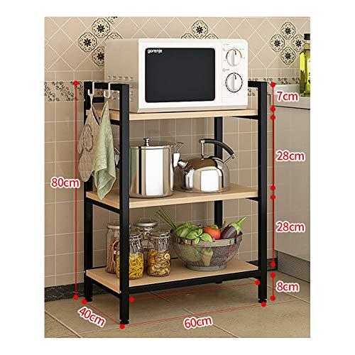 küchenregal Metall Drahtgitter Regal Standregale standregal metall lagerregal edelstahl regal Bodenständer Mikrowellenregal Multifunktionaler Backofenständer-black-3