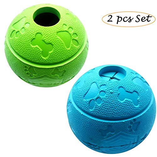 Feixun Pets Dog Treat Toy Ball, Dog Rubber Food Ball, Interactive Dog Toy, Pack of 2(1*Blue+1*Green) 8.1cm