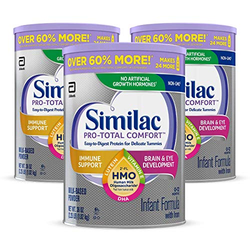 Similac Pro-Total Comfort Non-GMO with 2'-FL HMO Infant Formula with Iron, Easy-to-Digest, Gentle Formula, For Immune Support, Baby Formula 36 oz, 3 Count