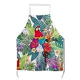 Huyotop Tablier Adulte Magnifique Tropical Exotic Perroquets et Fleurs de Buisson Tablier de Cuisine Unisexe avec Col Réglable pour Cuisine Jardinage Taille Adulte