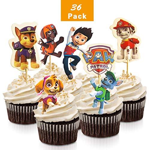 WELLXUNK 36 Stück Paw Patrol BROSS Kuchen Toppers Cupcake Toppers für Kinder Baby Party Geburtstag Party Kuchen Dekoration Supplies