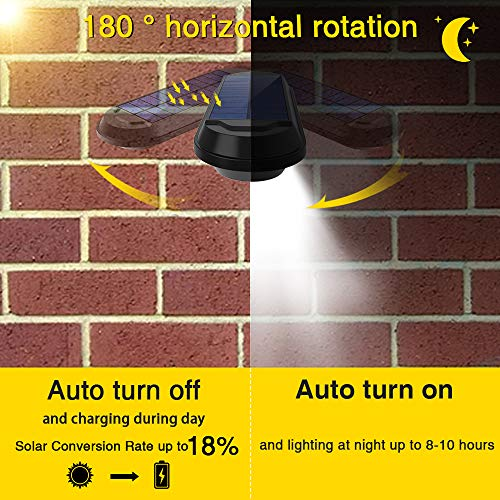 ROSHWEY Solar Gutter Lights Outdoor, Super Bright 18 LED Deck Light Waterproof Wall Lamps Dusk to Dawn for Garden Fence Garage Pathway (Pack of 4, Cool White Light)
