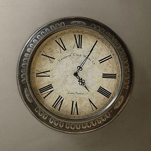 SDFN-Metal rustique américain muet la vieille horloge de mur gris (sans alimentation)Cadeau de cadeau de Noël de vacances d'ami cadeau