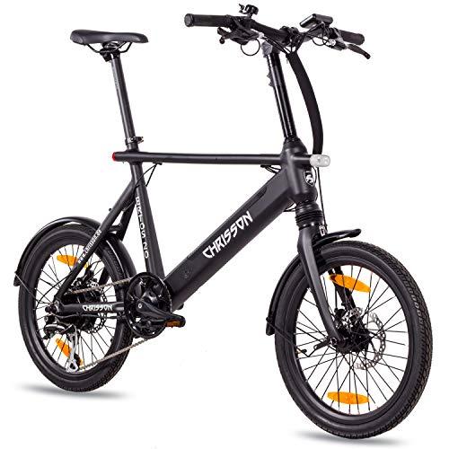 CHRISSON 20 Zoll E-Bike City Bike ERTOS 20 schwarz matt - Elektrofahrrad mit Bafang Hinterrad - Nabenmotor 250W, 36V, 30 Nm, Pedelec für Damen und Herren, praktisches E-City Bike