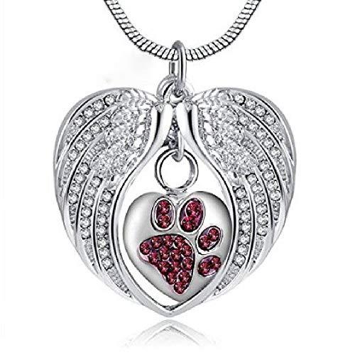 MKLI Einäscherung Schmuck Memorial Pet Asche-Anhänger-Halskette Wings Herz-förmige Paw Asche Halskette Souvenir Druck,Silver