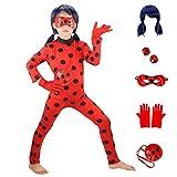 HuangWeida Costumi Cosplay di Miraculous Ladybug Girls Halloween Natale per Ragazze Parrucca Orecchini a Clip per Bambini Coccinella Marinette Cosplay Girls Dress Up (M-43.3-47.2 in)