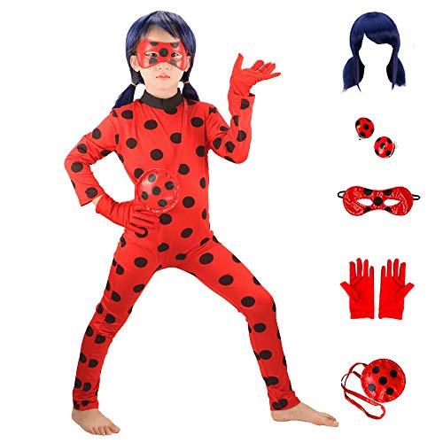 HuangWeida Bambini Ladybug Costume Parrucca Impostato Ragazze Carnevale Costumi Halloween Festa Coccinella Cosplay Regalo di Compleanno Ragazze Si Vestono 6 Pezzi (M)