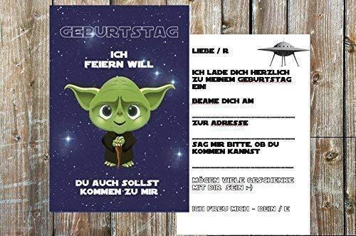 Star Wars Einladungskarten zum Kindergeburtstag für Jungen | Geburtstagseinladung für Kinder mit Motiv Yoda | Set: 8 Stück